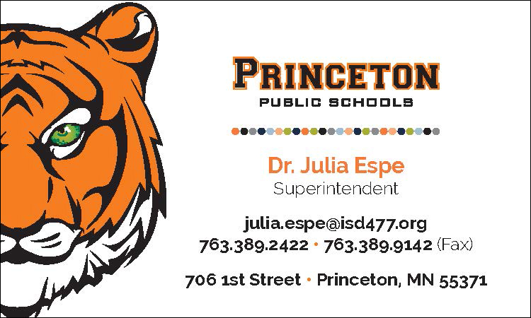 example of color business card for princeton public schools employee