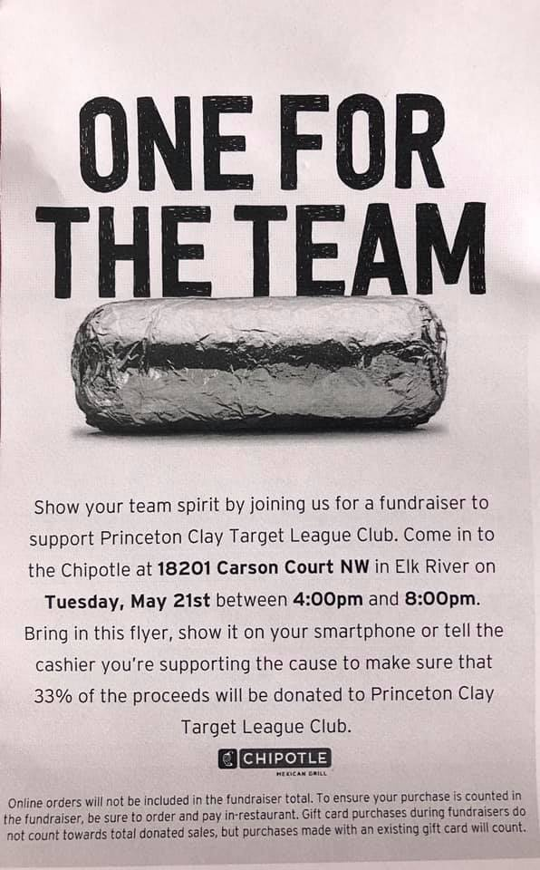Visit Chipotle in Elk River on May 21 from 4-8 pm and 33% of proceeds will be donated to Clay Target League.