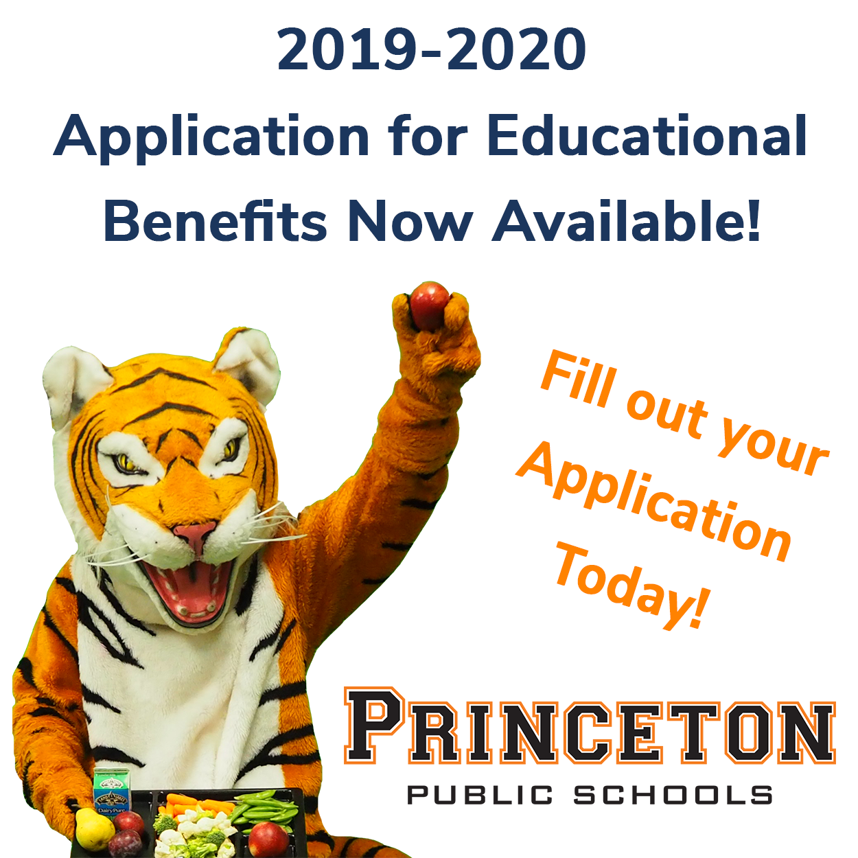 Tiger mascot holding apple and tray of lunch