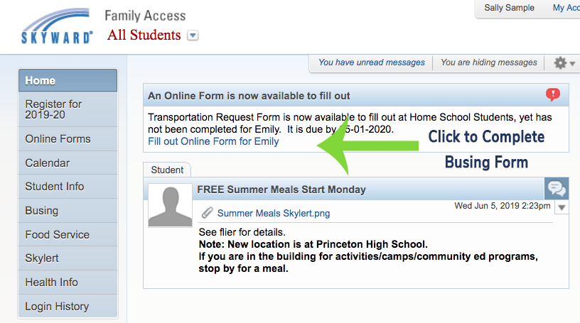 Screen shot showing the location of the Busing Form in Family Access, which is found under Online forms.