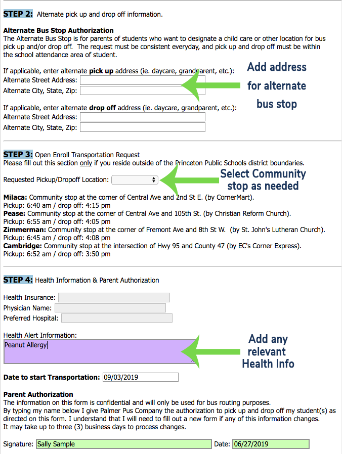 Screen shot showing where to input alternate address, community hub locations, and where to fill in health info.