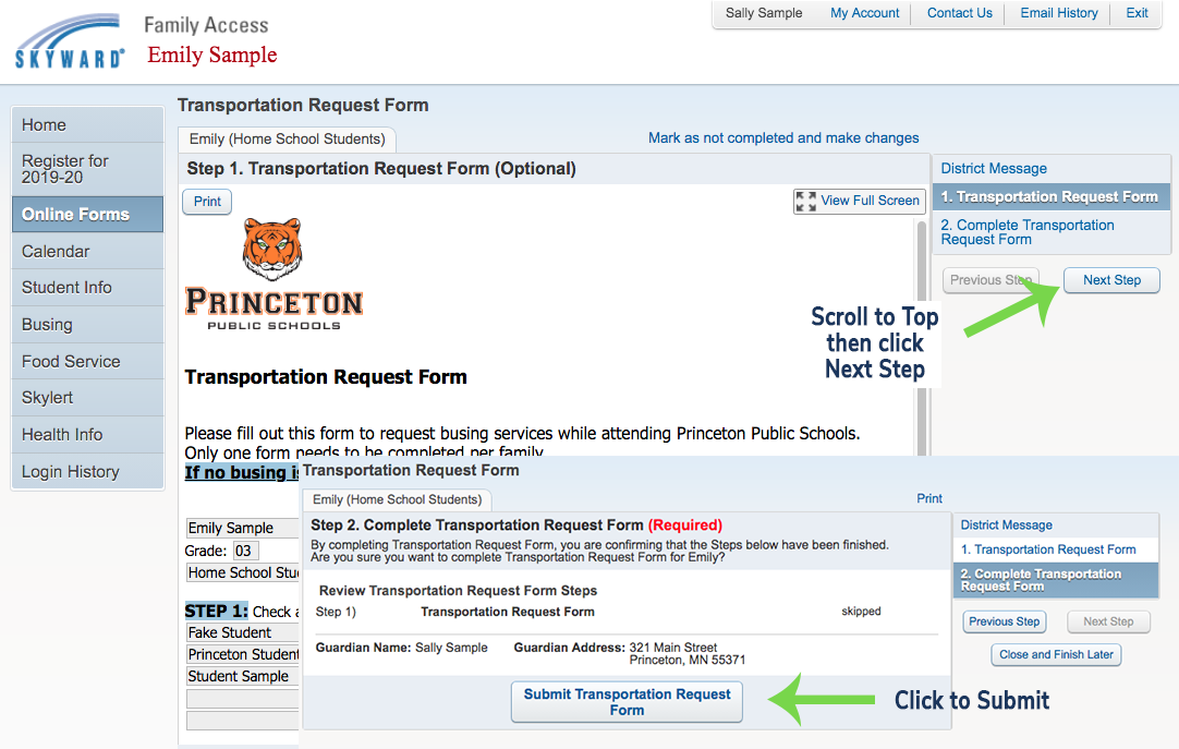 Screen shot showing the submit form button.