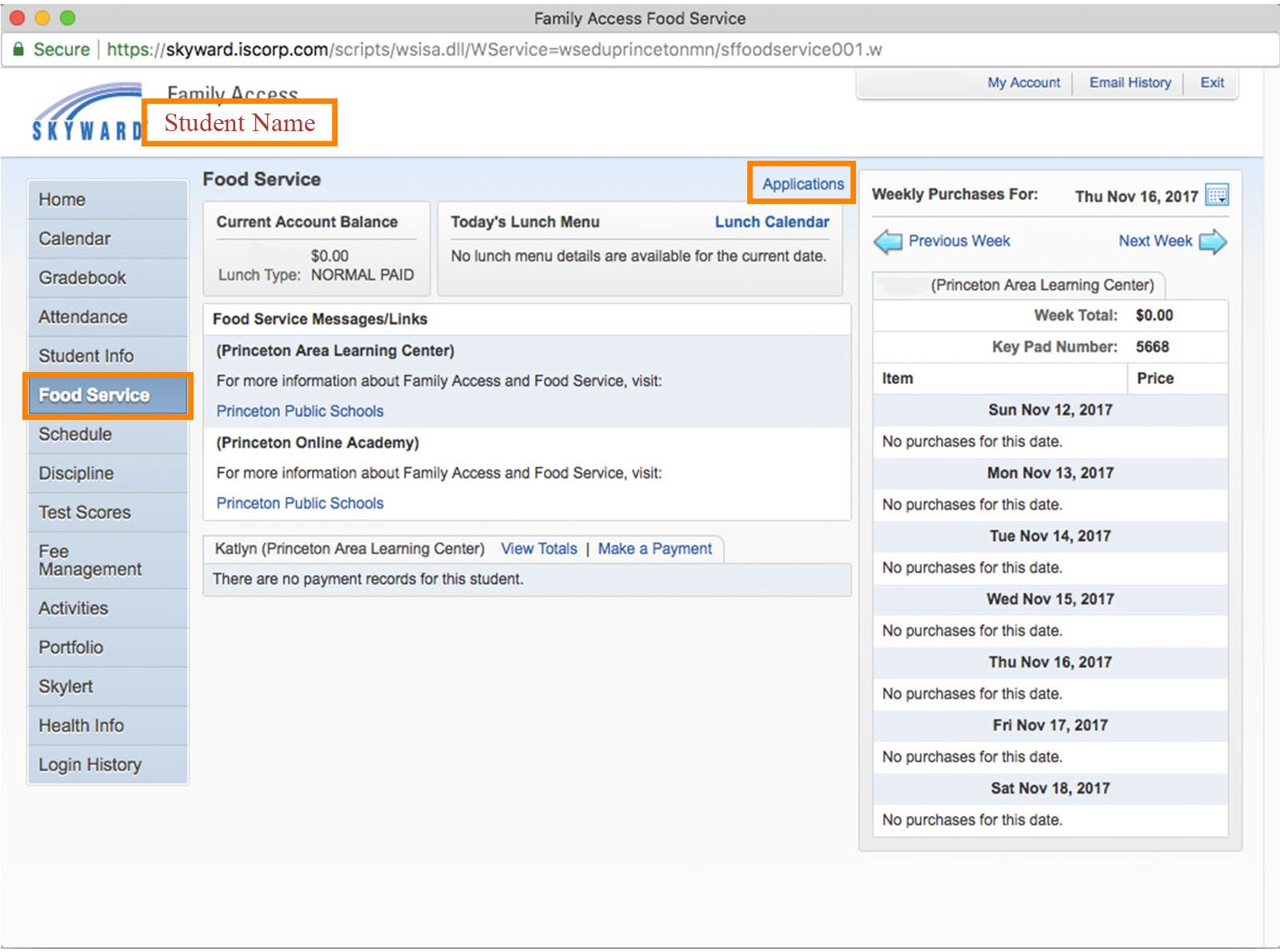 Image that shows where to click in Skyward to get to Food Service Applications.