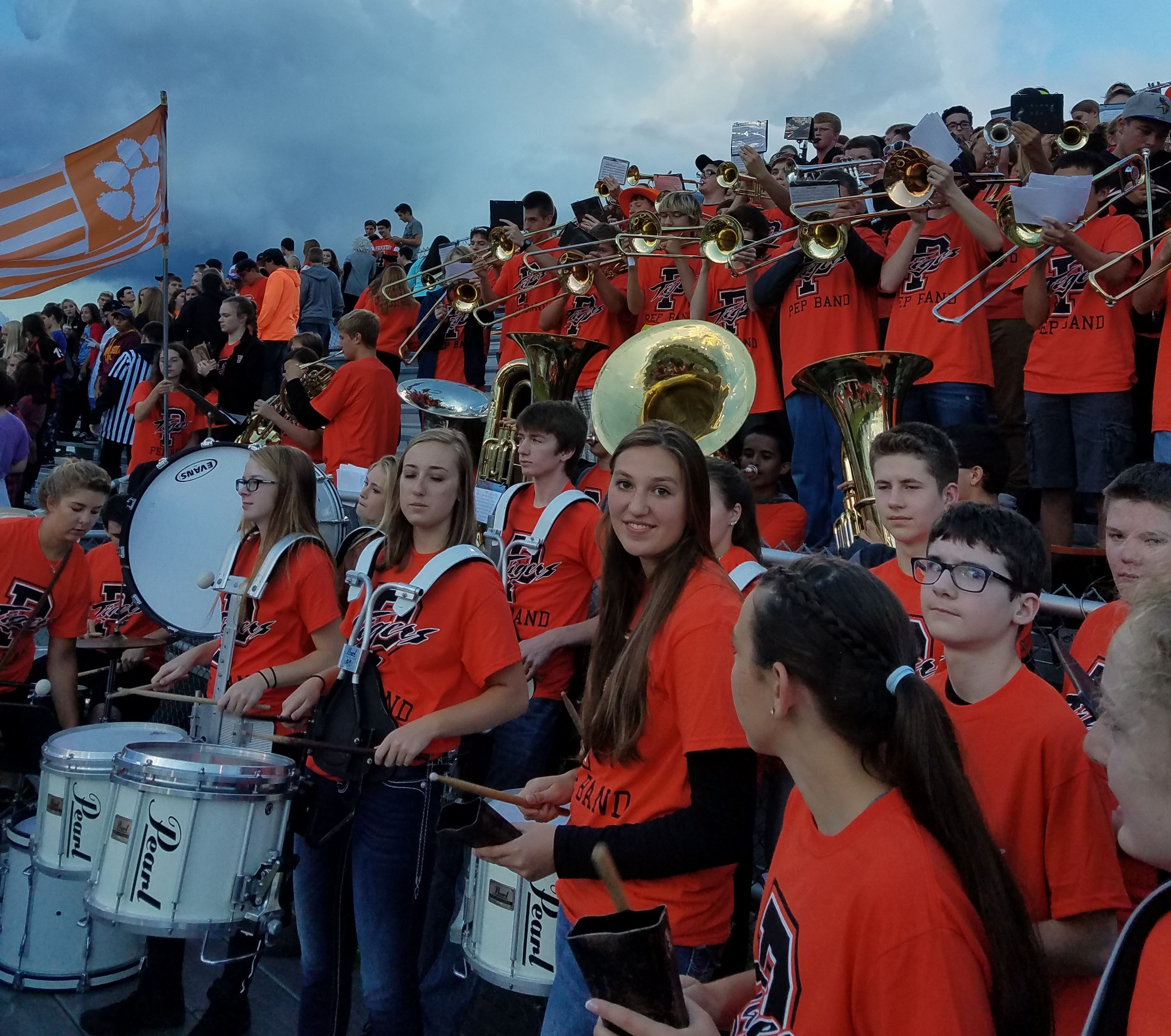 PHS Pep band in orange shirts