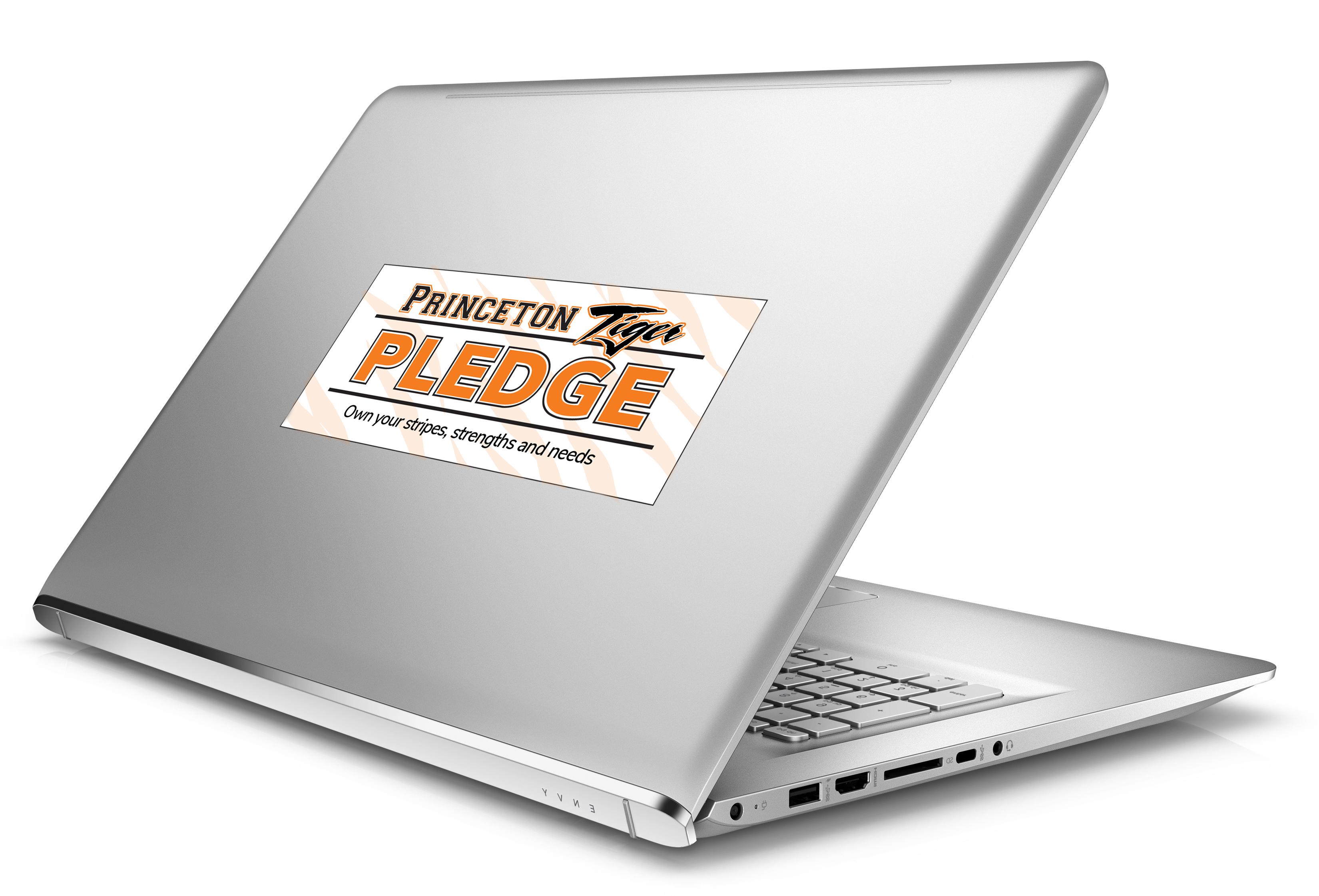 tiger pledge sticker on a laptop