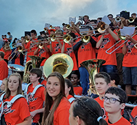 princeton high school band performing in the stands